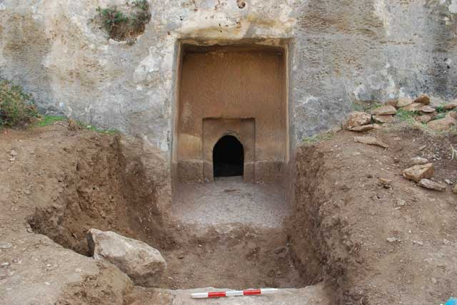 3. The burial cave upon completion of the excavation, looking south.