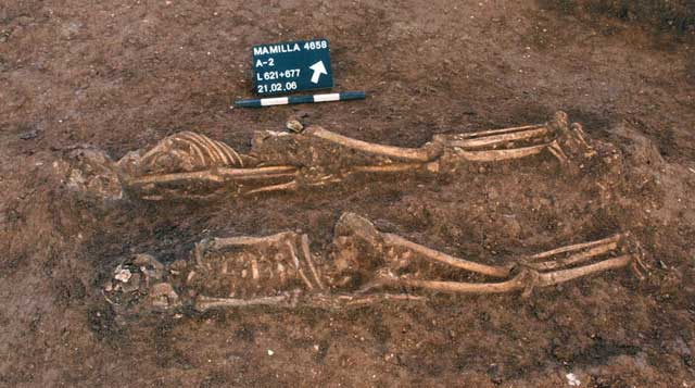 7. Deceased placed in the traditional Muslim funerary position, looking north.