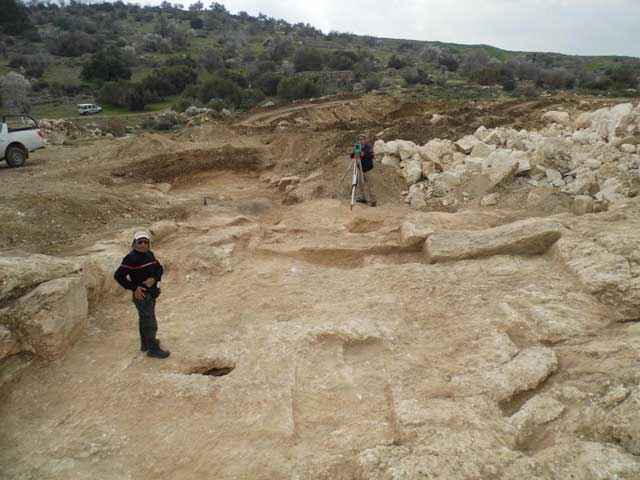 2. The excavation area, in the background is one of the hills where Horbat Bet Natif is situated, looking southwest.
