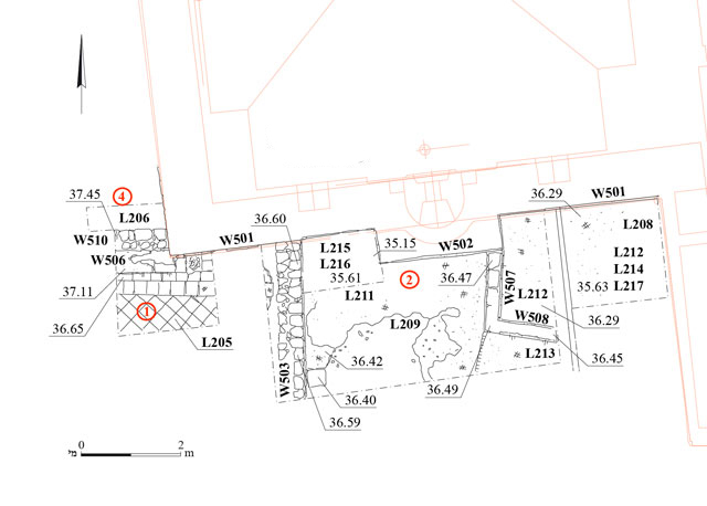 11. Area A, the northern part, Strata I and II, plan.