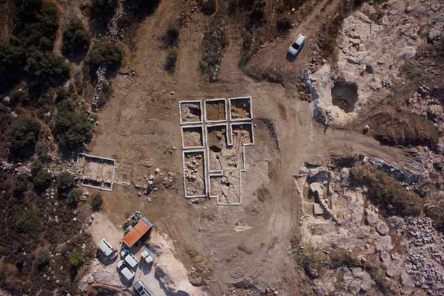 2. Aerial view of the two separate excavation areas and between them Dagan's excavations (backfilled), looking east.