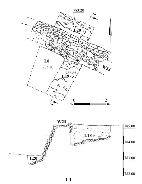 12. Wall 23, plan and section.
