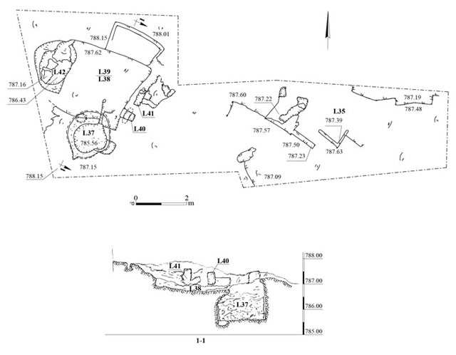 17. Area C, plan and section.